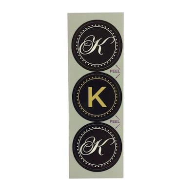 K Monogram Decorative Bathroom Sink Stopper Laminates (Set of 3)