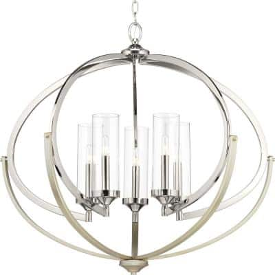 Evoke Collection 5-Light Polished Nickel Clear Glass Luxe Chandelier Light