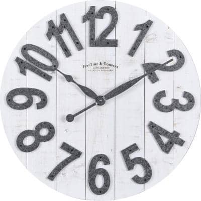 White Josephine Slat Wood Farmhouse Clock
