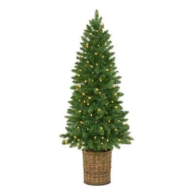 4.5 ft Downswept Pre-Lit Potted Artificial Christmas Tree with 100 White Lights