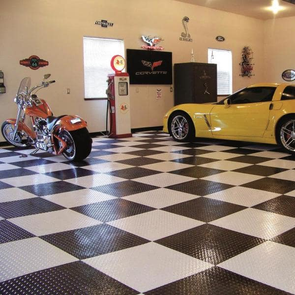 G Floor Raceday Diamond Tread Midnight Black 12 In X 12 In Peel And Stick Polyvinyl Tile 20 Sq Ft Case T95dt12mb20p3 The Home Depot