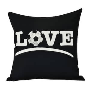 Love Soccer Black Geometric 18 in. x 18 in. Throw Pillow