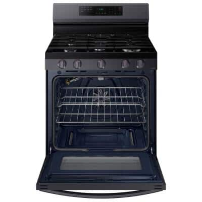 6.0 cu. ft. Smart Freestanding Gas Range with Air Fry and Convection in Fingerprint Resistant Black Stainless Steel