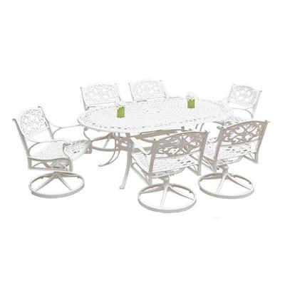 Biscayne White 7-Piece Swivel Patio Dining Set