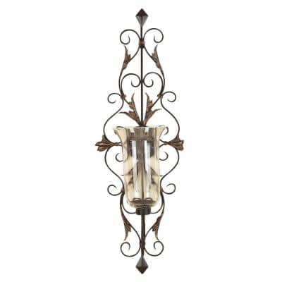 Gold Glass Rustic Candle Wall Sconce