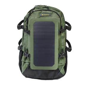 Solar Backpack, 10k mAh battery, 7-Watt Solar Panel in Army Green