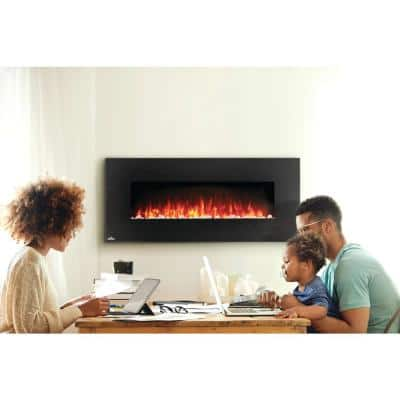 50 in. Wall Mount Electric Fireplace in Black