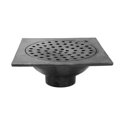 9 in. x 9 in. Cast Iron No-Hub Bell Trap with Hinged Lid