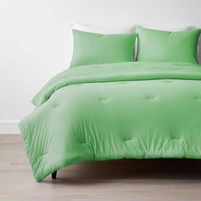Company Cotton 2-Piece Spring Green Cotton Jersey Knit Twin/Twin XL Comforter Set