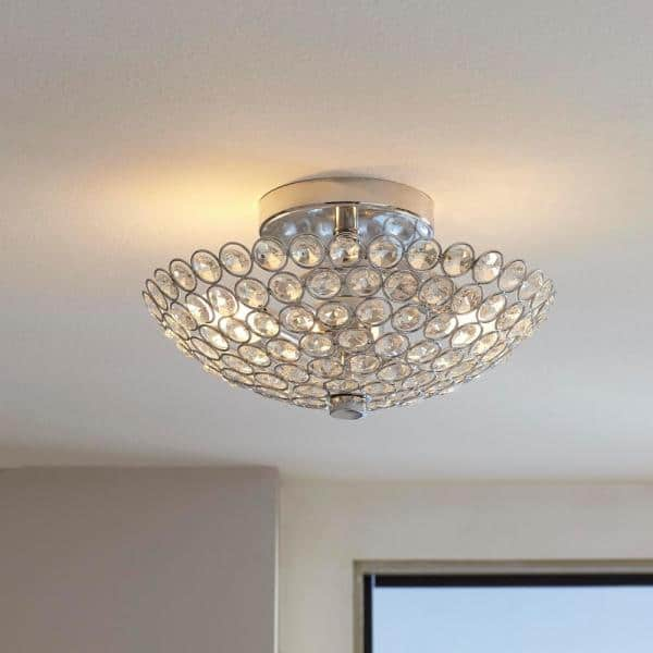 Home Decorators Collection Barclay 2 Light Chrome And Crystal Flush Mount Fm49290 015 The Home Depot