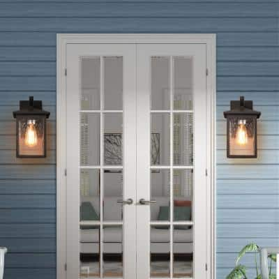 1-Light Matte Black Outdoor Wall Lantern Sconce Wall Mount Coach Light with Seeded Glass Shade