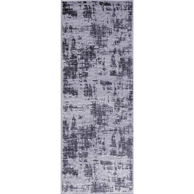 Newruz Collection Dark-Gray Gray 36 in. x 96 in. Polypropylene Bath Rug