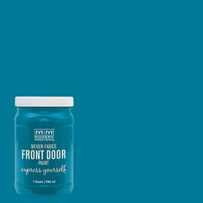 Express Yourself 1 qt. Satin Tranquil Blue Water-Based Front Door Paint
