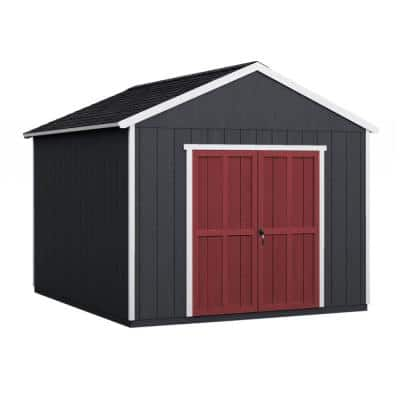 Installed Rookwood 10 ft. x 12 ft. Wooden Shed with Onyx Black Shingles