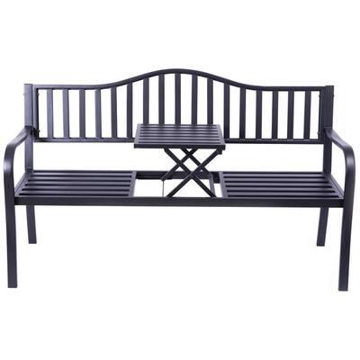Black-Metal-Outdoor-3-Seater-Patio-Loveseat-Chair-Garden-Yard-Patio-Park-Bench