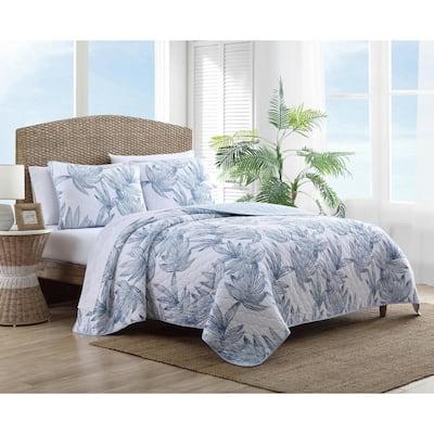 Kayo 3-Piece Blue Floral Cotton King Quilt Set