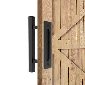 12 in. Black Square Pull and Flush Sliding Barn Door Handle Set