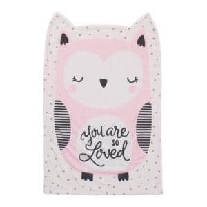 You are Loved Pink, White and Black Olivia the Owl Knit Shaped Polyester Baby Blanket