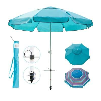 7 ft. Telescoping Steel Pole Beach Umbrella with Sand Anchor, Push Button Tilt and Carry Bag in Turquoise