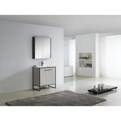 Vdara 30 in. W x 18.11 in. D x 33.5 in. H Bathroom Vanity side cabinet in Gray Taupe with White Ceramic Top