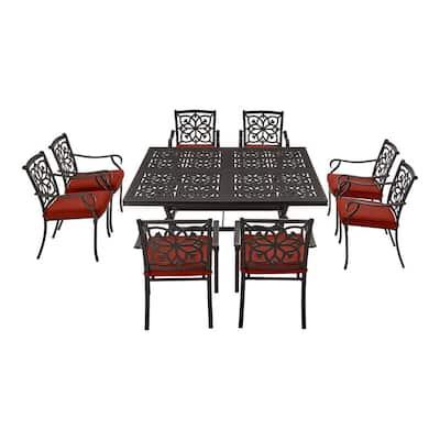 Oakshire Park 9-Piece Aluminum Outdoor Dining Set with Sunbrella Henna Red Cushions