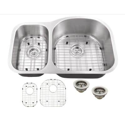 Undermount 16-Gauge Stainless Steel 31-1/2 in. 0-Hole 30/70 Double Bowl Kitchen Sink with Grid Set and Drain Assemblies