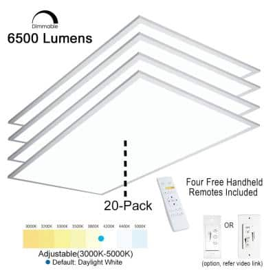 2 ft. x 4 ft. Integrated LED Panel Light Troffer Backlit 6500LM 630W Equivalent White Dim CCT Color Changeable (20-PC)