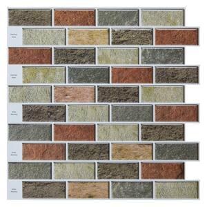 12 in. x 12 in. Vinyl Peel and Stick Backsplash Tiles in Red Brick