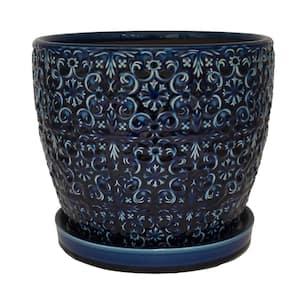 12 in. Dia Blue Mediterranean Bell Ceramic Planter