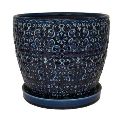 12 in. Dia Blue Mediterranean Bell Ceramic Planter