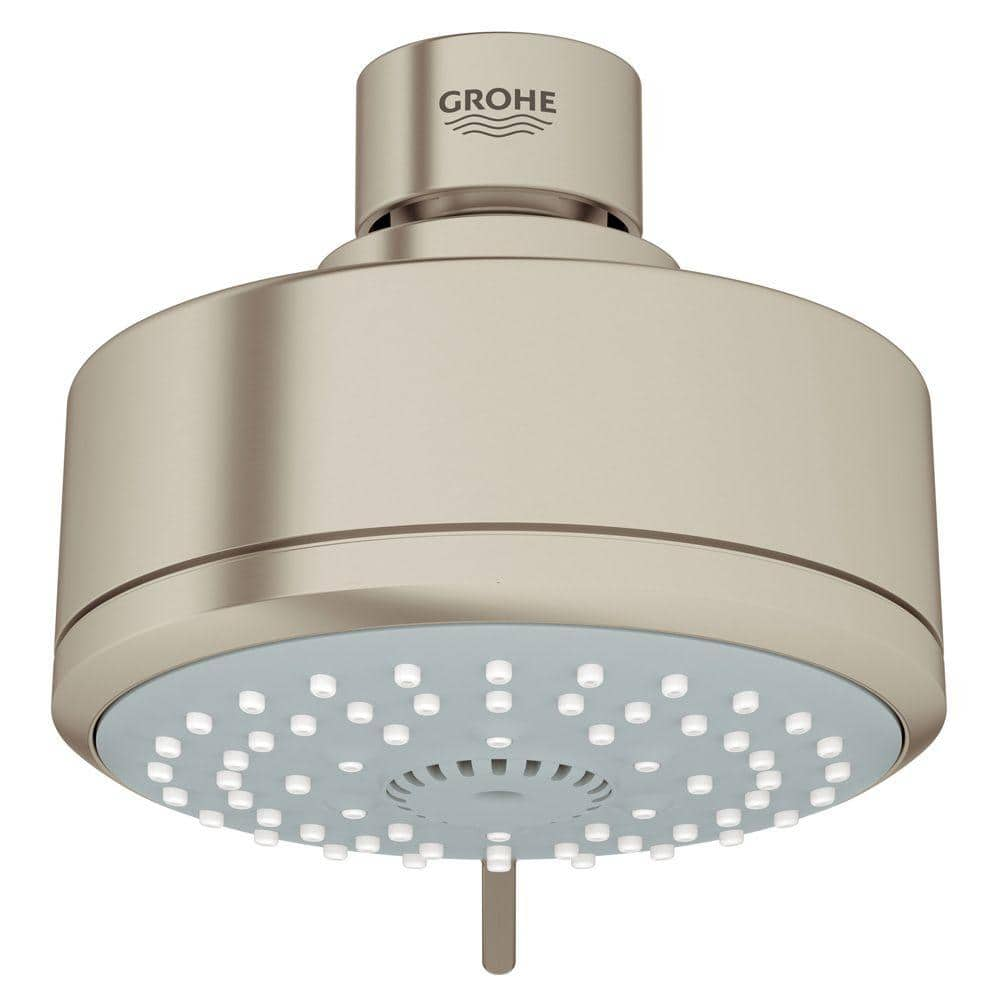 Grohe Tempesta 4 Spray 4 In Single Wall Mount Fixed Rain Shower Head In Brushed Nickel Infinityfinish 27591en0 The Home Depot