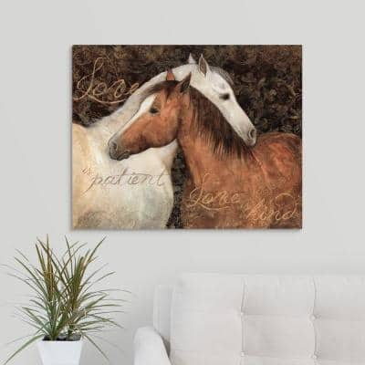 """""""Two Horses Nestling"""" by Susan Winget Canvas Wall Art"""
