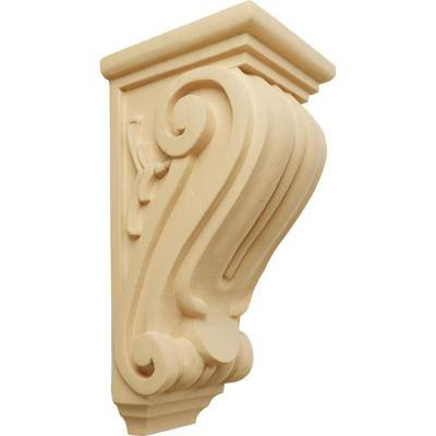5 in. x 4-1/2 in. x 10 in. Unfinished Wood Alder Medium Classical Corbel