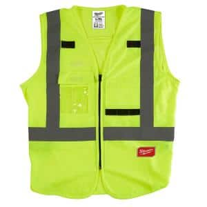 Large/X-Large Yellow Class 2 High Visibility Safety Vest with 10 Pockets