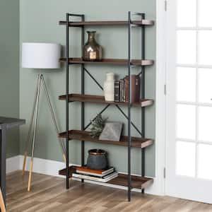 68 in. Dark Walnut/Black Metal 5-shelf Etagere Bookcase with Open Back
