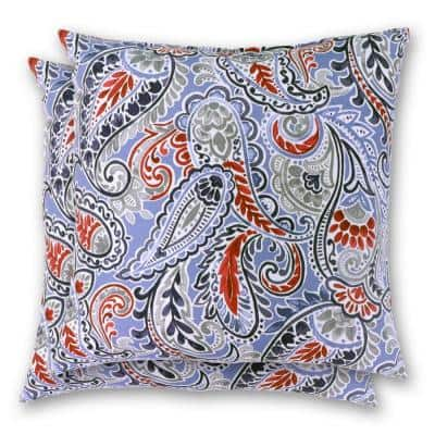 18 in. x 18 in. Denim Paisley Square Outdoor Throw Pillow (2 Pack)