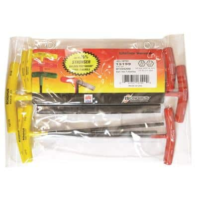 Metric and Standard Ball End Graduated Length T-Handle Set with ProGuard Finish (9-Piece)