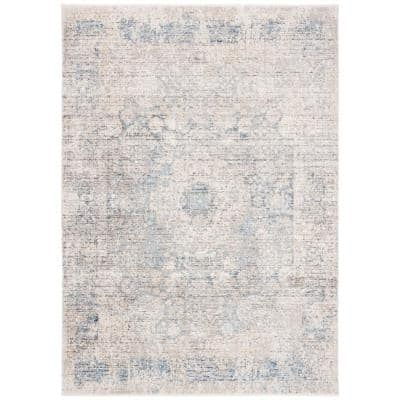 Dream Grey/Blue 5 ft. x 8 ft. Border Distressed Area Rug
