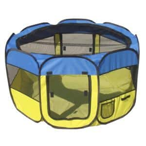 All-Terrain Lightweight Easy Folding Wire-Framed Collapsible Travel Dog Playpen in Blue/Yellow - LG