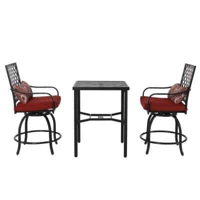 3-Piece Metal Patio Conversation Set with Red Cushions
