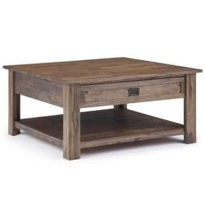 Monroe 38 in. Rustic Natural Aged Brown Medium Square Wood Coffee Table with Drawers