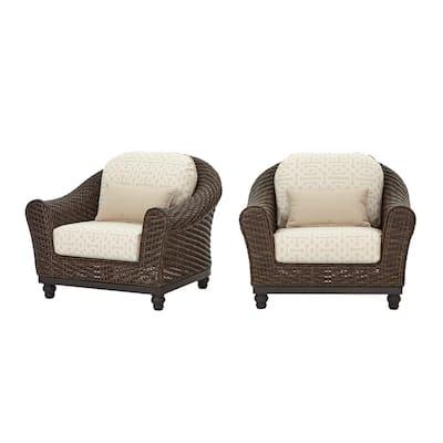Camden Dark Brown Wicker Outdoor Patio Lounge Chair with Sunbrella Antique Beige & Fretwork Flax Cushions (2-Pack)