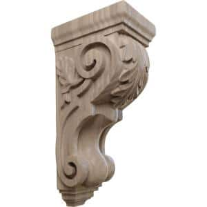 7 in. x 5 in. x 14 in. Unfinished Wood Walnut Large Traditional Acanthus Corbel