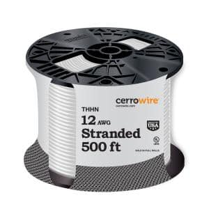 500 ft. 12 Gauge White Stranded CU THHN Wire