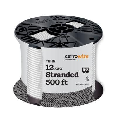 500 ft. 12/1 White Stranded THHN Wire