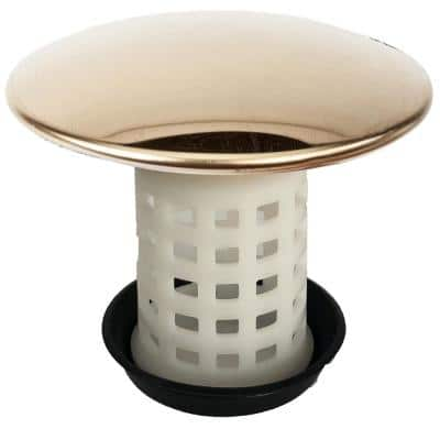 Universal Tub Drain Protector Strainer with Jumbo Cover in Polished Brass