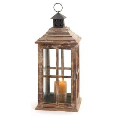 Brown Wood Traditional Candle Lantern