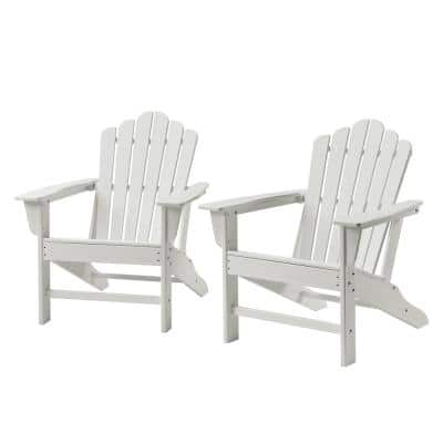 Classic White Plastic Adirondack Chair for Outdoor Garden Porch Patio Deck Backyard (2-Pack)