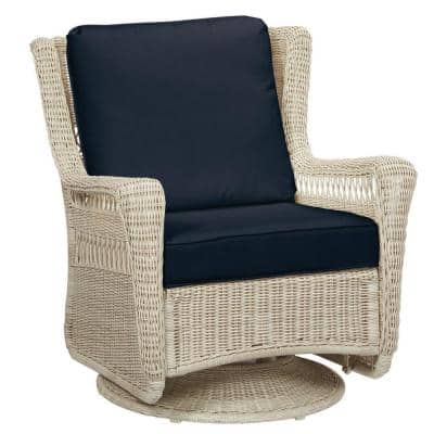 Park Meadows Off-White Wicker Outdoor Patio Swivel Rocking Lounge Chair with CushionGuard Midnight Navy Blue Cushions
