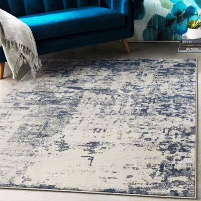 Aldona Navy 5 ft. 3 in. x 7 ft. 3 in. Abstract Area Rug